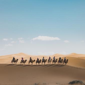 Foto vertical de pessoas montando camelos em uma duna de areia no deserto