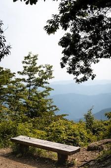 Foto vertical de um banco de madeira com vista para as montanhas em um dia ensolarado