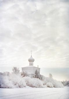 Foto vertical de um castelo cercado de neve durante o inverno