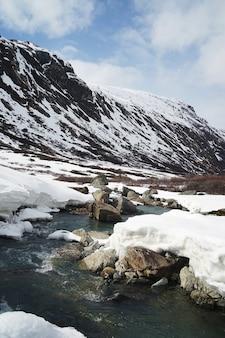 Foto vertical de um lago rochoso perto de montanhas nevadas
