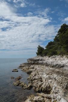 Foto vertical de um penhasco costeiro sob um céu azul coberto de nuvens