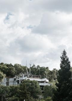 Foto vertical de um prédio abandonado no meio de uma floresta sob um céu nublado