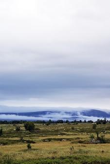 Foto vertical de uma bela paisagem cercada por altas montanhas na noruega