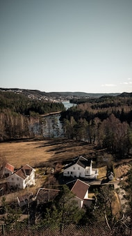 Foto vertical de uma bela vista de casas e árvores perto do rio