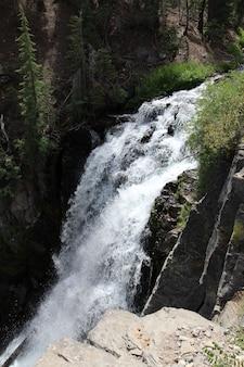 Foto vertical de uma cachoeira baixa com espuma branca na floresta com falésias e vegetação