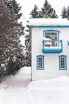 Foto vertical de uma casa coberta de neve branca durante o inverno