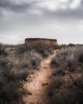 Foto vertical de uma estrada em uma área deserta com montanhas