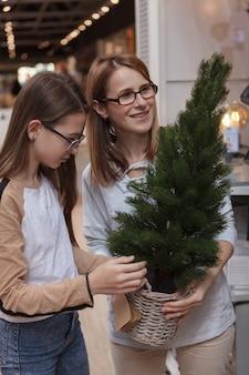 Foto vertical de uma mãe e filha comprando árvore de natal em vaso em uma loja de artigos domésticos