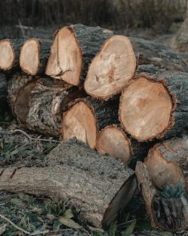 Foto vertical de uma pilha de madeira serrada