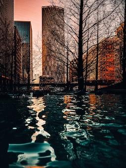 Foto vertical de uma superfície de água em arranha-céus