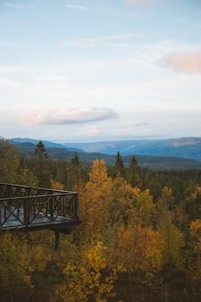 Foto vertical de uma varanda sobre a bela árvore com as montanhas, noruega