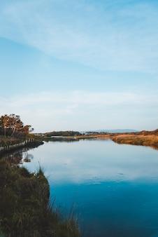 Foto vertical do lago no campo refletindo o céu azul
