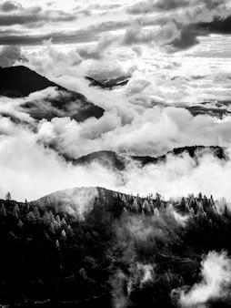 Foto vertical em tons de cinza de uma montanha com floresta acima das nuvens em grober priel