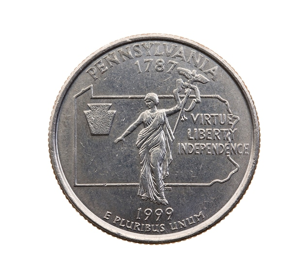 Fotografado em close-up em moeda branca dólar americano 25 centavos de dólar, pensilvânia