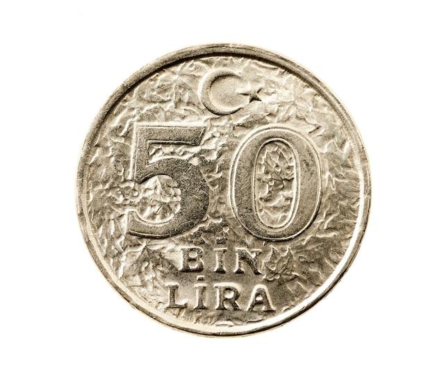 Fotografado em close-up em uma moeda turca branca no valor de cinquenta liras