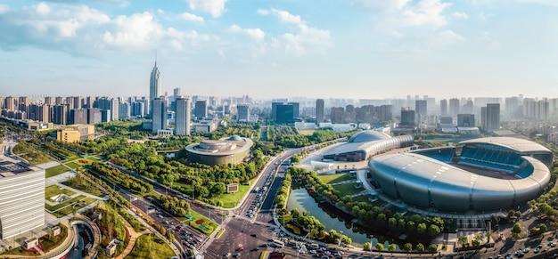 Fotografia aérea arquitetura da cidade de changzhou paisagem horizonte