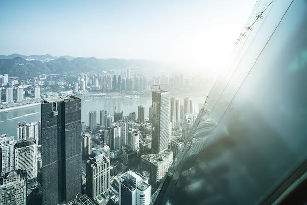 Fotografia aérea arquitetura da cidade de chongqing horizonte