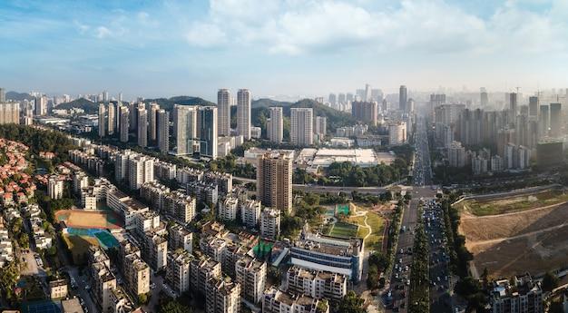 Fotografia aérea arquitetura da cidade de zhuhai paisagem horizonte
