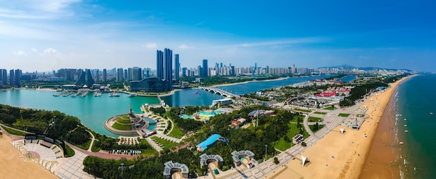 Fotografia aérea china rizhao cidade arquitetura paisagem litoral