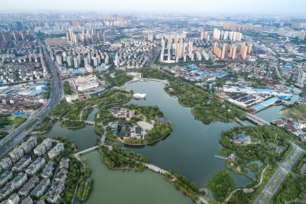 Fotografia aérea cidade chinesa