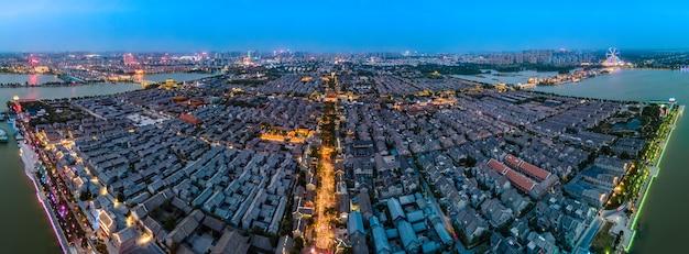 Fotografia aérea da antiga cidade de dongchang em liaocheng, província de shandong