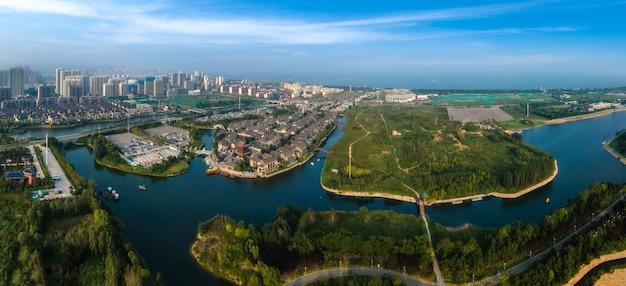Fotografia aérea da cidade de dongyi, rizhao, china