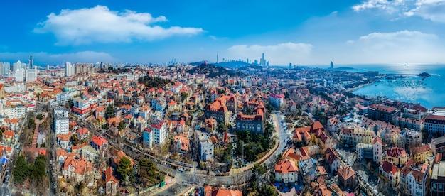 Fotografia aérea da cidade velha de qingdao, china