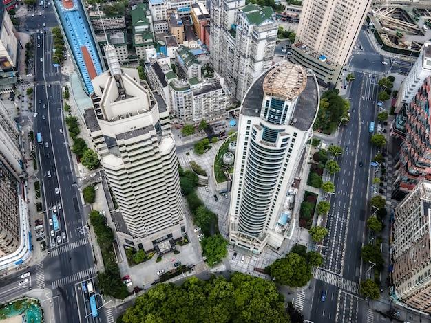 Fotografia aérea da paisagem arquitetônica da cidade de wuxi na china Foto Premium