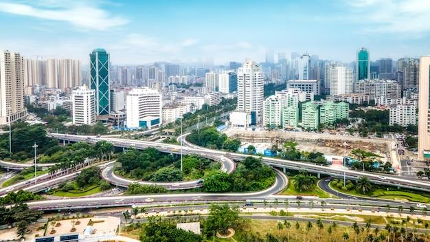 Fotografia aérea da paisagem arquitetônica de haikou, china