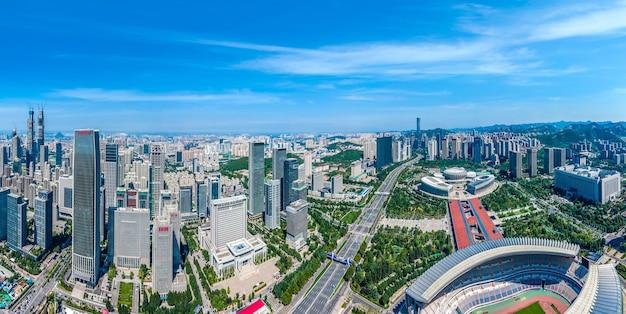 Fotografia aérea da paisagem arquitetônica urbana moderna de jinan, china