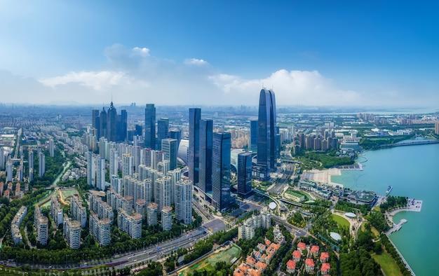 Fotografia aérea da paisagem central da cidade de suzhou