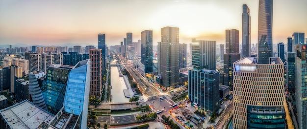 Fotografia aérea da paisagem da arquitetura da cidade de ningbo