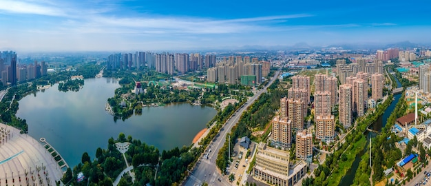 Fotografia aérea da paisagem da cidade de zaozhuang na china