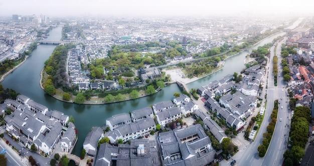 Fotografia aérea do antigo complexo do cais de suzhou panmen