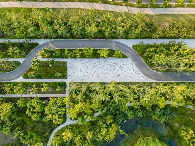Fotografia aérea do cenário do parque da cidade