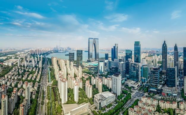 Fotografia aérea do centro financeiro de suzhou