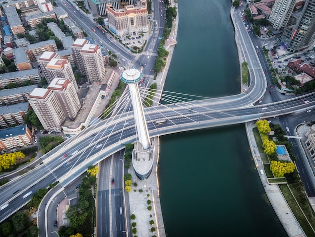 Fotografia aérea do horizonte da paisagem arquitetônica do centro financeiro de tianjin
