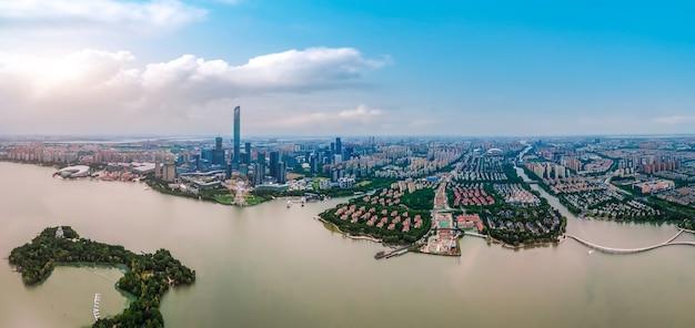 Fotografia aérea do lago suzhou jinji