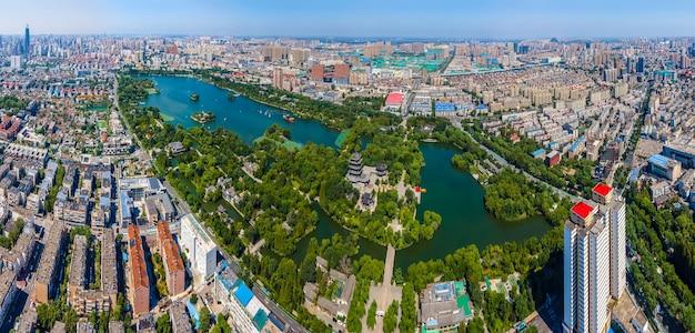 Fotografia aérea do parque jinan daming lake