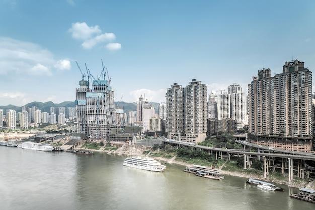 Fotografia aérea na montanha da cidade de chongqing