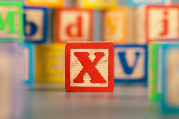 Fotografia da letra de madeira colorida do bloco x
