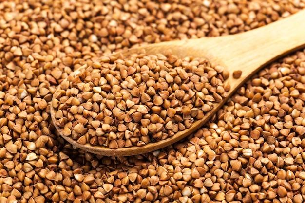 Fotografia de alta qualidade de textura trigo mourisco de grumos de trigo mourisco premium