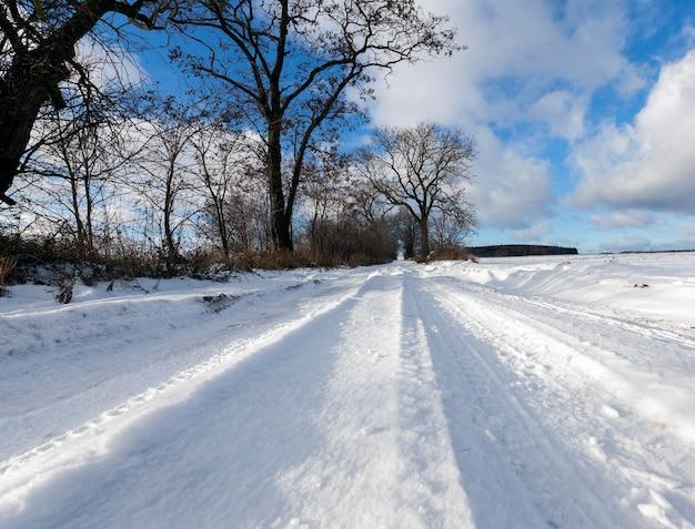 Fotografia de close-up de neve na estrada. céu azul e árvores sem folhas no inverno