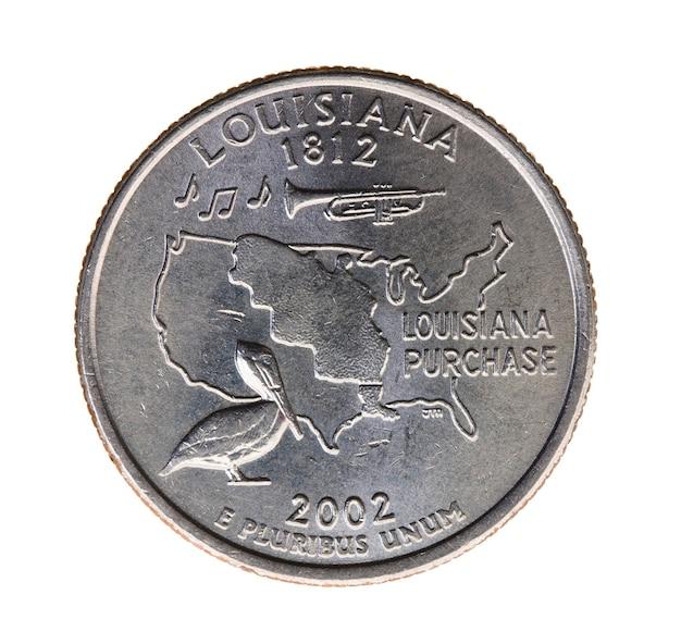 Fotografia de close-up em moeda branca, dólar americano, 25 centavos de dólar, louisiana