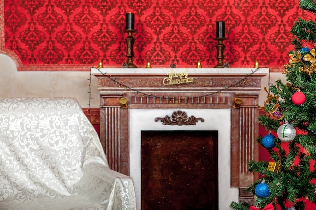 Fotografia de estúdio de interior de natal em quarto vintage vermelho