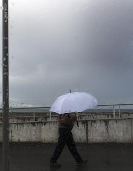 Fotografia de uma pessoa carregando um guarda-chuva em um dia chuvoso de outono