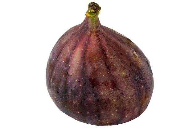 Fotografia macro close-up da fruta do figo no fundo branco isolado