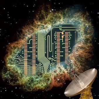 Fotografia sobre o tema da rádio eletrônica. placa do microprocessador close-up. os elementos desta imagem são fornecidos pela nasa