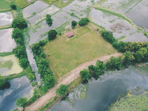Fotografias aéreas de drones. terras verdes rurais