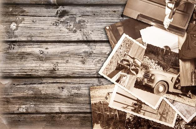 Fotografias vintage fundo de madeira